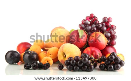 Ripe fruit and berries isolated on white