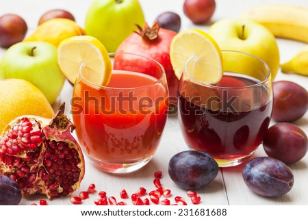 Ripe fruit and smoothie for a healthy diet - stock photo