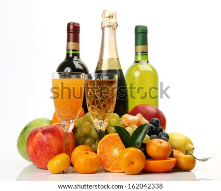 Ripe fruit and wine