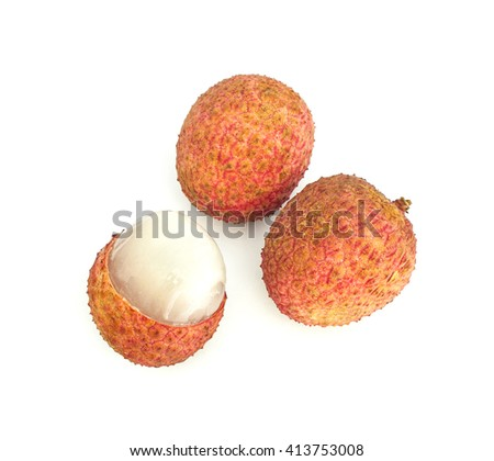 Ripe fruit of the lychee (Litchi chinensis) isolated on white background - stock photo