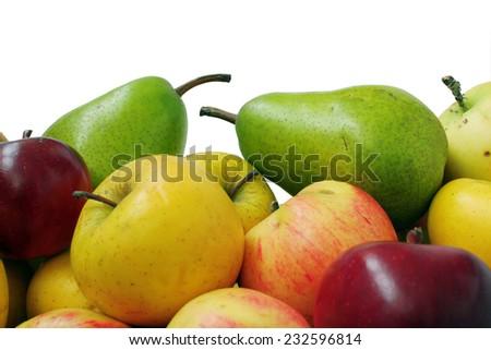 Ripe fruit of the season in a floor frame - stock photo