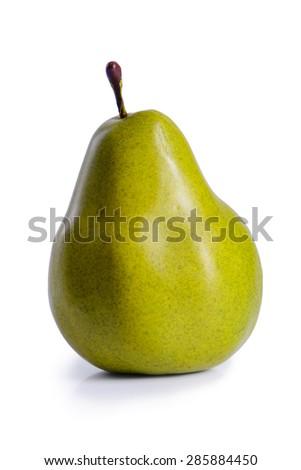 ripe fruit one pear isolated on white background - stock photo