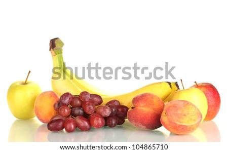 Ripe fruits isolated on white - stock photo