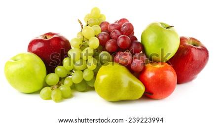 Ripe fruits isolated on white background - stock photo