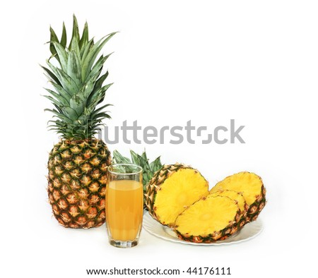 Ripe fruits of pineapple, are a basis for juice manufacture - stock photo