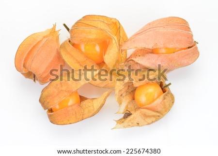 Ripe Gooseberries isolated On White Background - stock photo