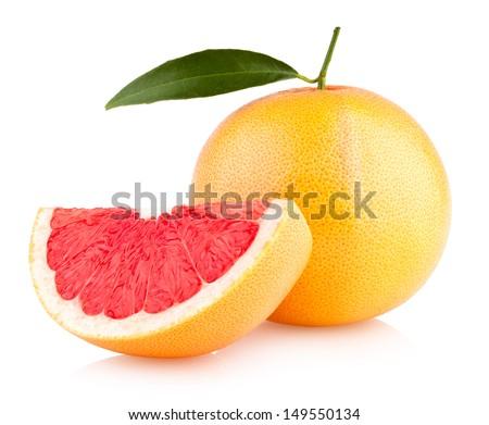 ripe grapefruit isolated on white background - stock photo
