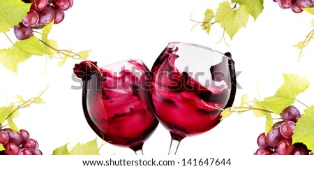 Ripe grapes and  pair of wine glass isolated on white. Love concept - stock photo