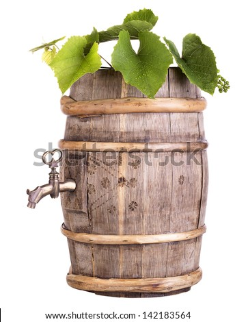 Ripe grapes on a wooden vintage barrel  isolated on a white background