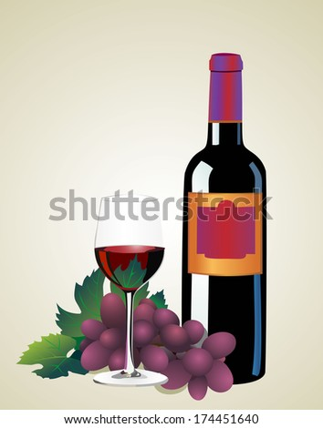 Ripe grapes, red wine glass and bottle of wine