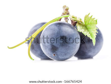 Ripe grapes with leaf, Isolated on white background, closeup - stock photo