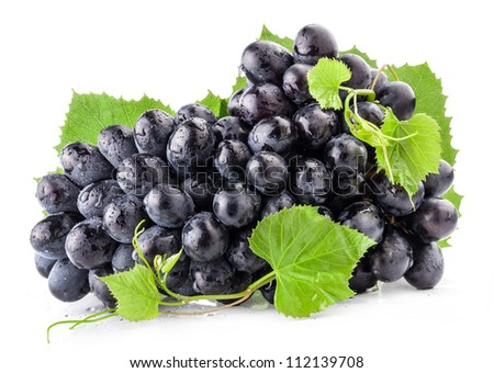 Ripe grapes with leaves, Isolated on white background - stock photo