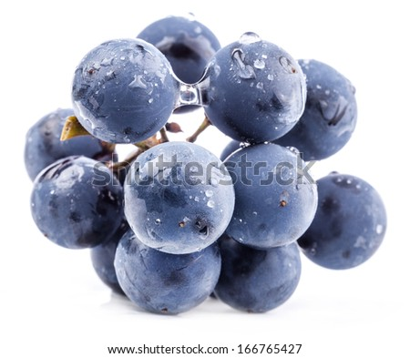 Ripe grapes with water drops. Isolated on white background, closeup