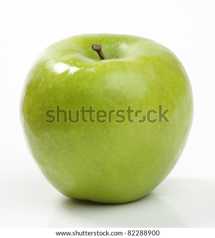 Ripe green apple. Isolated on a white background.