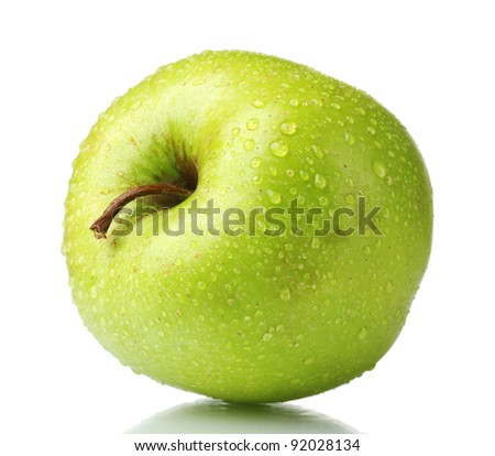 ripe green apple isolated on white - stock photo