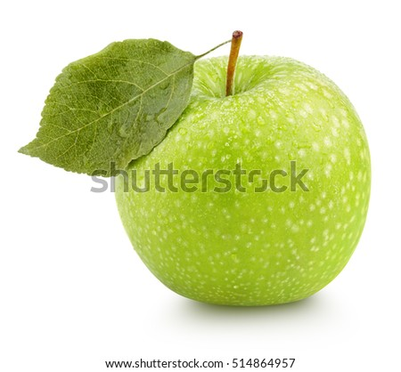 Ripe green apple with leaf isolated on white background with clipping path