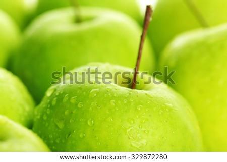 Ripe green apples close up - stock photo