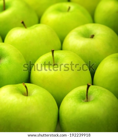 ripe green apples close up background