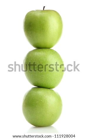 Ripe green apples with leaves  isolated on white - stock photo