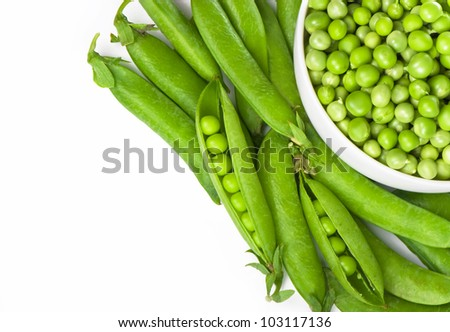 Ripe green pea vegetable isolated on white background
