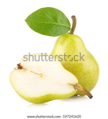 ripe green pears isolated on white background - stock photo