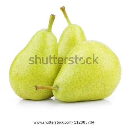 Ripe green yellow pears isolated on white - stock photo