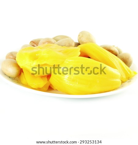 ripe jackfruit with seeds on white background