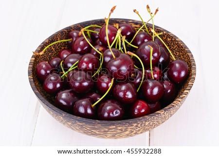 Ripe Juicy Cherries on White Background Studio Photo - stock photo