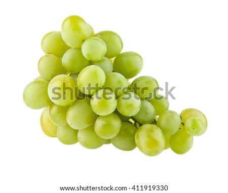 ripe juicy cluster of grapes isolated on a white background closeup
