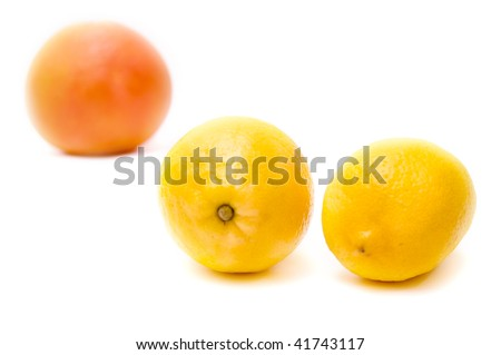 Ripe juicy grapefruit and lemon isolated