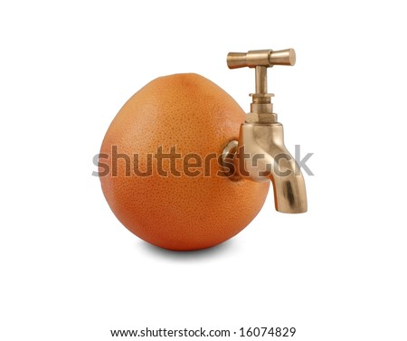 Ripe juicy grapefruit with faucet isolated on white