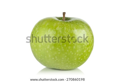 Ripe juicy green apple on white background - stock photo
