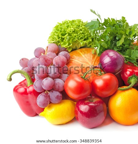 ripe, juicy, healthy fruits and vegetables isolated on a white background - stock photo