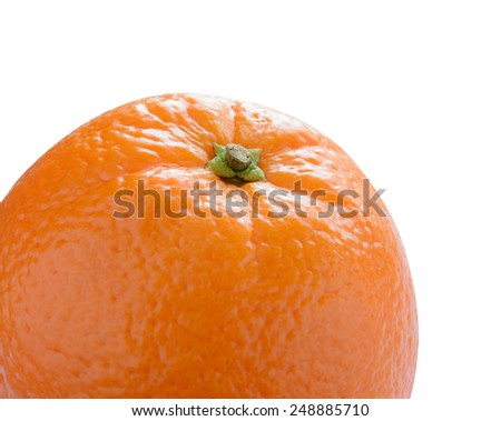 Ripe Juicy Orange Isolated on the White Background - stock photo