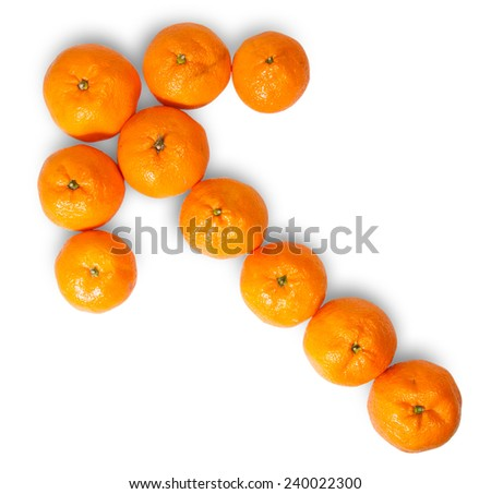 Ripe Juicy Orange Tangerine Lined As A Left Arrow Isolated On White Background - stock photo