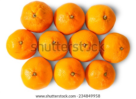 Ripe Juicy Orange Tangerines Isolated On White Background - stock photo