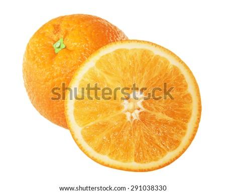 ripe juicy oranges isolated on white background - stock photo