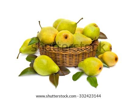 Ripe juicy pears in the basket on white background - stock photo