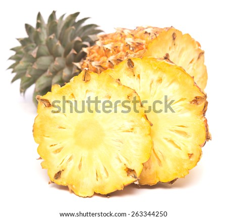 ripe juicy pineapple isolated on white background - stock photo
