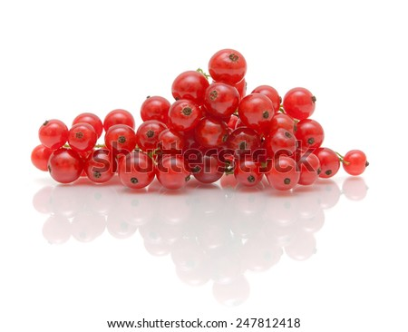 ripe juicy red currant berries on a white background with reflection. horizontal photo. - stock photo