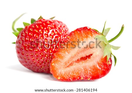 Ripe juicy strawberries on a white background - stock photo