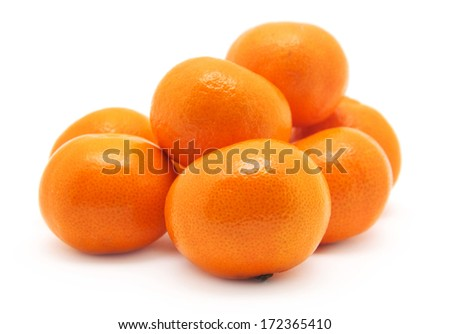 ripe juicy tangerine on a white background - stock photo