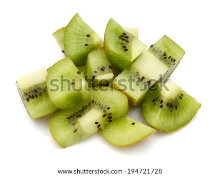 ripe kiwi cut differently slices  - stock photo