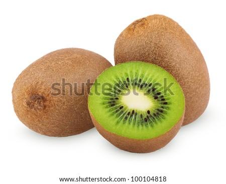 Ripe kiwi fruits with half isolated on white background - stock photo