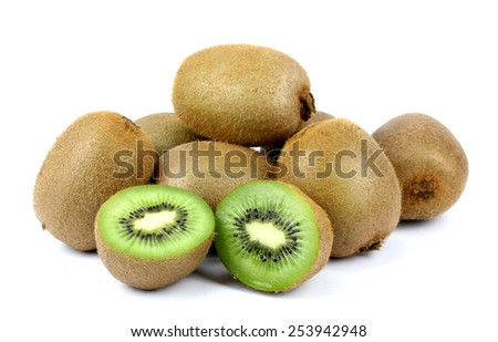 ripe kiwi on a white background isolated - stock photo