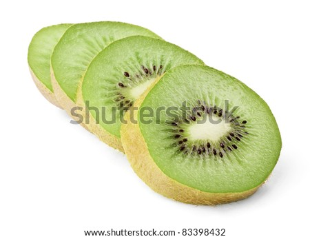 Ripe kiwi slices isolated on white background
