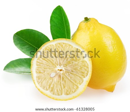 Ripe lemon with slices and leaves on a white background. - stock photo