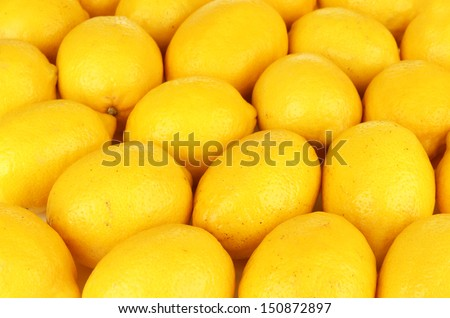 Ripe lemons close-up