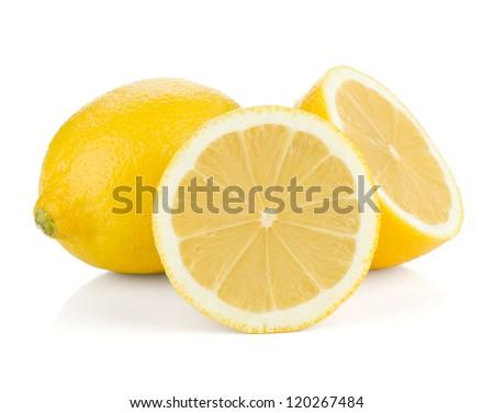 Ripe lemons. Isolated on white background - stock photo