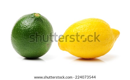 Ripe lemons on white background - stock photo
